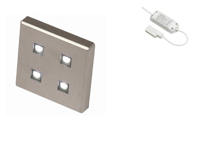 LED Kastverlichting set | 1 Lampjes | 1 x 1,4W | Vierkant