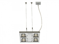 LED Hanglamp | AIXLIGHT SQUARE MR16 zilvergrijs 4xGU5,3 | 4 x 5,5W LED | Met kabels