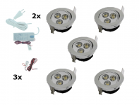 LED inbouwspot | 5 LED spots | 190Lm | Doe Het Zelf LED Kit | Warm Wit | 302